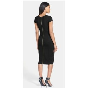 Felicity & Coco Bodycon Black Midi Back Zip Dress